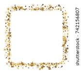 doodle golden stars frame on... | Shutterstock .eps vector #742156807