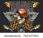 vintage wolf motorcycle label | Shutterstock .eps vector #742157491