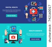 digital health solutions... | Shutterstock .eps vector #742160017