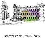old european street in hand... | Shutterstock .eps vector #742162009