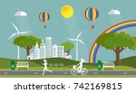paper art of landscape with eco ... | Shutterstock .eps vector #742169815