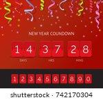 flip countdown timer realistic... | Shutterstock .eps vector #742170304