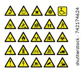 high detailed warning signs... | Shutterstock .eps vector #742174624