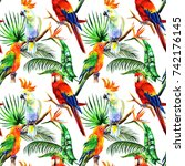 bright parrots in watercolor... | Shutterstock . vector #742176145