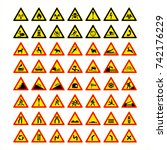 high detailed warning signs... | Shutterstock .eps vector #742176229