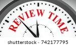 black clock with review time ...   Shutterstock . vector #742177795