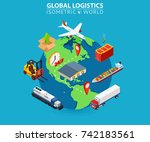 global logistics cargo delivery ...   Shutterstock . vector #742183561