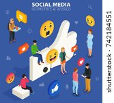 social media isometric concept. ... | Shutterstock . vector #742184551