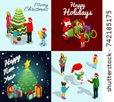 isometric new year concept with ... | Shutterstock .eps vector #742185175