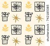 christmas vector present box... | Shutterstock .eps vector #742185385