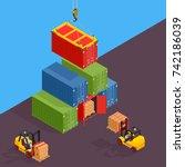 marine cargo port. unloading of ... | Shutterstock . vector #742186039