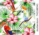 seamless tropical composition | Shutterstock . vector #742188541