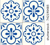azulejos portuguese vector...   Shutterstock .eps vector #742190485
