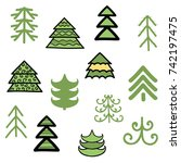 christmas trees for your... | Shutterstock .eps vector #742197475