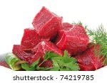 Uncooked Fresh Beef Meat Chunk...