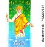 happy guru nanak jayanti... | Shutterstock .eps vector #742200589