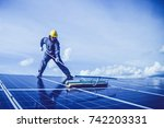 labor working on cleaning... | Shutterstock . vector #742203331