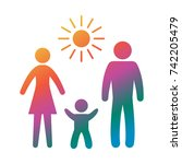 icon family. flat style. vector ... | Shutterstock .eps vector #742205479