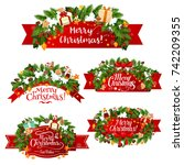 merry christmas wish icons of... | Shutterstock .eps vector #742209355