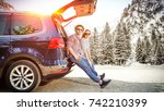 winter car trip and two lovers    Shutterstock . vector #742210399