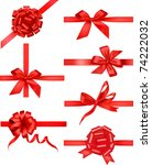 big set of red gift bows with... | Shutterstock .eps vector #74222032