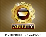 gold shiny badge with folder... | Shutterstock .eps vector #742224079