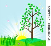landscape with tree and sun.... | Shutterstock . vector #74222809
