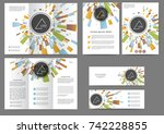 set of color abstract brochure... | Shutterstock .eps vector #742228855