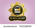 gold badge with factory icon... | Shutterstock .eps vector #742228945