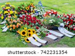 flowers after a funeral in an... | Shutterstock . vector #742231354