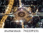 aerial view road roundabout ... | Shutterstock . vector #742239151
