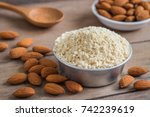 almond flour in bowl and... | Shutterstock . vector #742239619