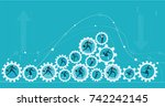 lots of gears with hard working ... | Shutterstock .eps vector #742242145