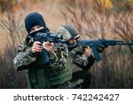 the team of soldiers engaged in ... | Shutterstock . vector #742242427