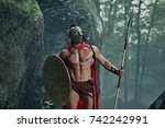 spartan warrior in a... | Shutterstock . vector #742242991