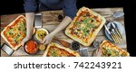 cutting pizza. domestic food... | Shutterstock . vector #742243921