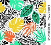 seamless exotic pattern with... | Shutterstock .eps vector #742244095