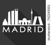 madrid flat icon skyline... | Shutterstock .eps vector #742245001
