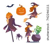 set of halloween. a witch with... | Shutterstock .eps vector #742246111