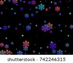colorful snow flakes falling on ... | Shutterstock .eps vector #742246315
