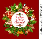 merry christmas greeting card... | Shutterstock .eps vector #742250527