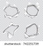 set of vector realistic holes...   Shutterstock .eps vector #742251739