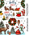 christmas and new year winter... | Shutterstock .eps vector #742255639