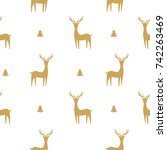 christmas seamless pattern with ... | Shutterstock .eps vector #742263469