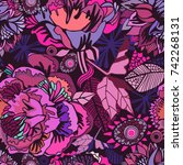 vector bright floral seamless... | Shutterstock .eps vector #742268131