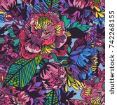 vector bright floral seamless... | Shutterstock .eps vector #742268155