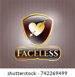 shiny badge with heart with... | Shutterstock .eps vector #742269499
