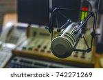 microphone in radio studio | Shutterstock . vector #742271269