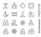 nautical thin line icon set.... | Shutterstock .eps vector #742271725