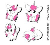 hand drawn stickers with cute... | Shutterstock .eps vector #742279321
